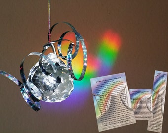 Reflections of Rainbow Bridge Prism Pet Memorial Sun Catcher +Poem on Bookmark, 4x6 & Wallet Card Pet Loss Gift Condolence Story Dog Cat Any