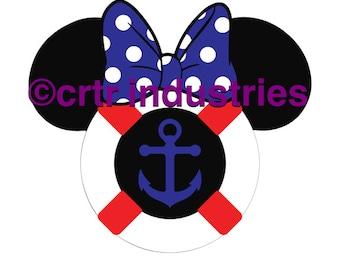 99c SALE! Minnie Mouse Life Preserver / Iron on Image