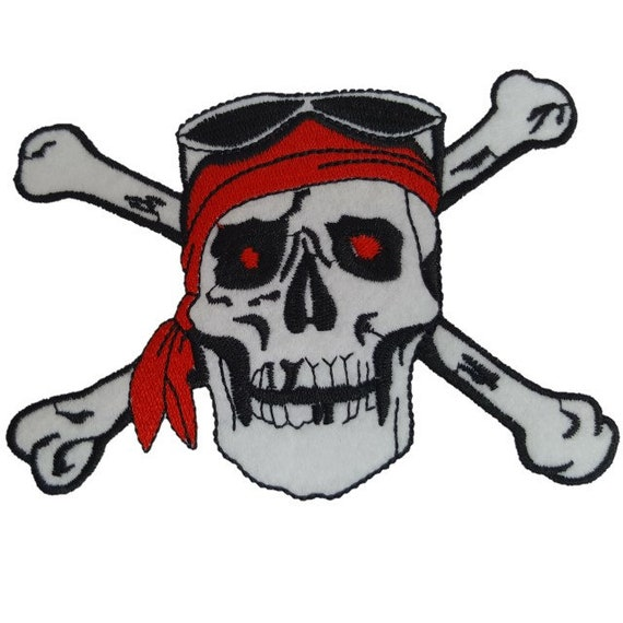 Pirate Ship Flags Skull /& Crossbones Iron On Embroidered Patch Children Pirates