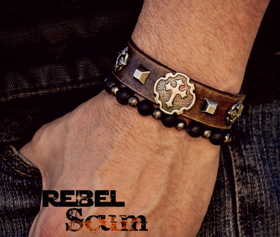 Punk Leather Bracelet, Cross Bracelet, Men's Bracelet, Women's Leather Bracelet, Gothic Bracelet