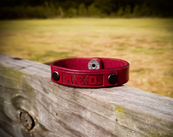 Remember Everyone Deployed R.E.D. Leather Bracelet.