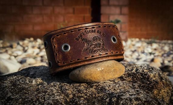 Don't Tread On Me Leather Cuff,  Cuff Bracelet,  Biker Cuff