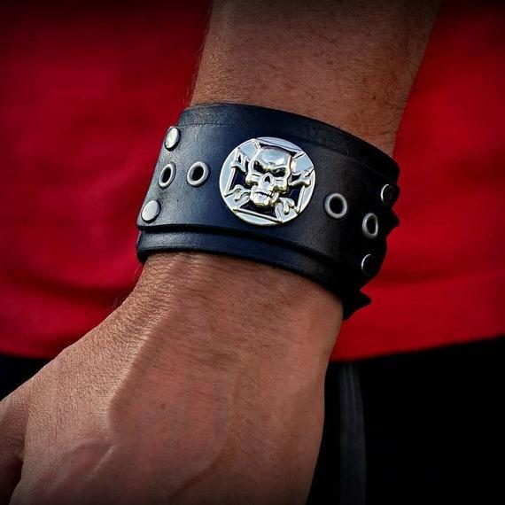 Adjustable leather cuff, Women's Leather Cuff, Men's Leather Cuff, Skull Cuff,  Religious Jewelry,  Leather Cuff
