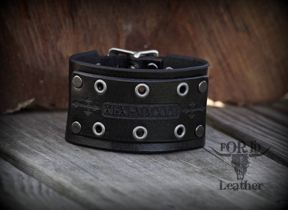 Adjustable leather cuff, Women's Leather Cuff, Men's Leather Cuff, Skull Cuff,  Religious Jewelry,  Leather Cuff