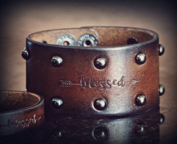 Blessed leather cuff, Cuff Bracelet,  Leather Cuff,  Women's cuff