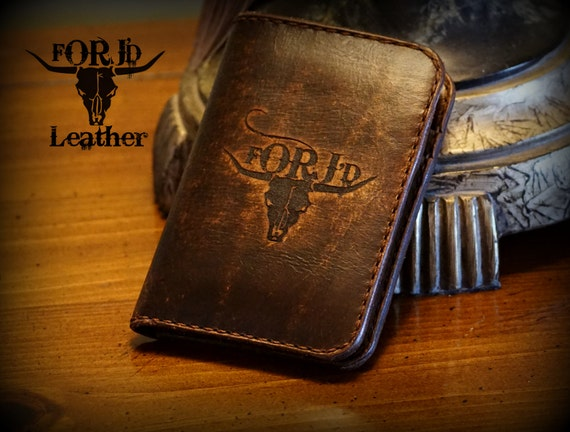 Engraved Front Pocket Leather Wallet, Leather Wallet, Vintage Leather Wallet,
