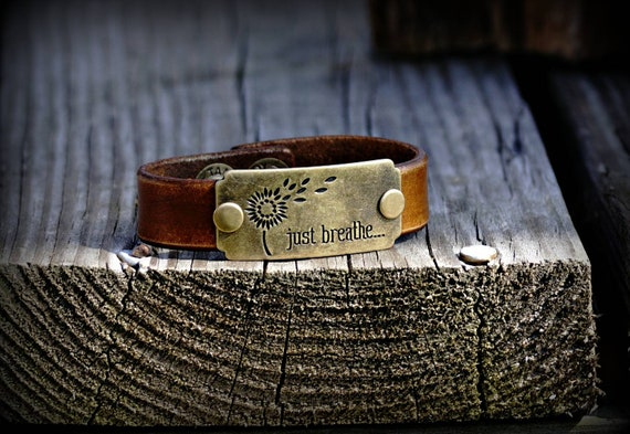 Leather charm bracelet,  Leather bracelet,  Leather cuff,  Just Breathe bracelet
