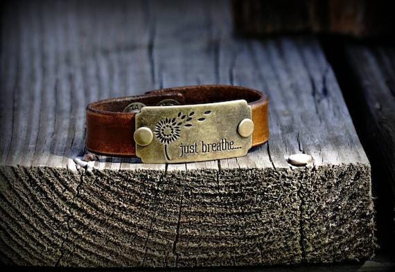Leather charm bracelet,  Leather bracelet,  Leather cuff,  Just Breathe bracelet