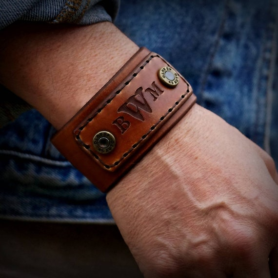 Personalized  Mens Leather  Bracelet,  Leather Cuff Bracelet, Bullet  Bracelet,  Bullet cuff.
