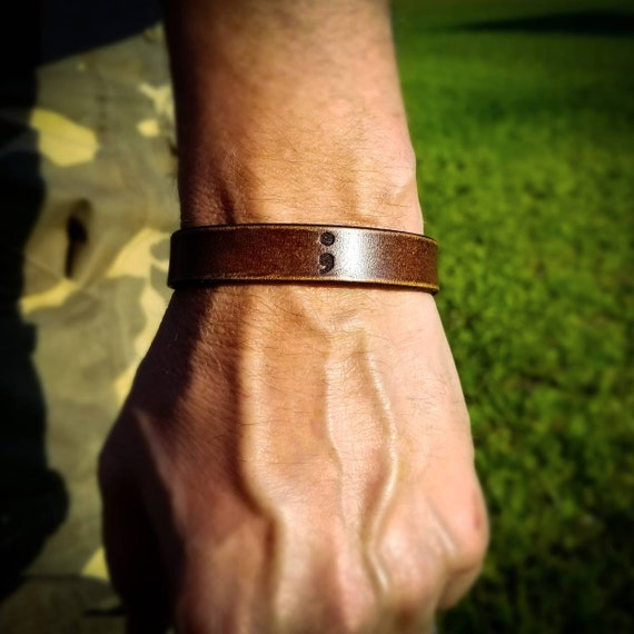 Semicolon Leather Bracelet