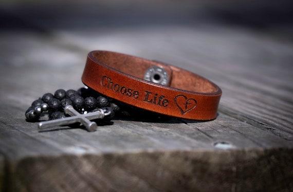 Leather Bracelet, Choose Life Bracelet, Women's Bracelet, Men's Bracelet, Angel Mom Bracelet, Angel Dad Bracelet