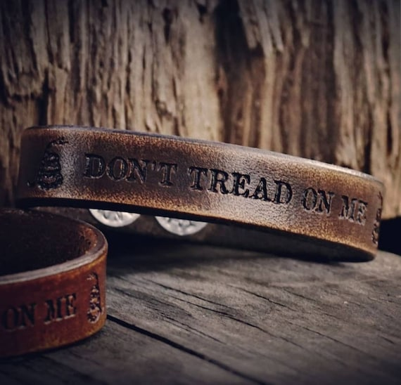 Don't Tread on Me Bracelet, Second Amendment Bracelet, Leather Bracelet, Gadsden Flag Bracelet, Women's Bracelet, Men's Bracelet