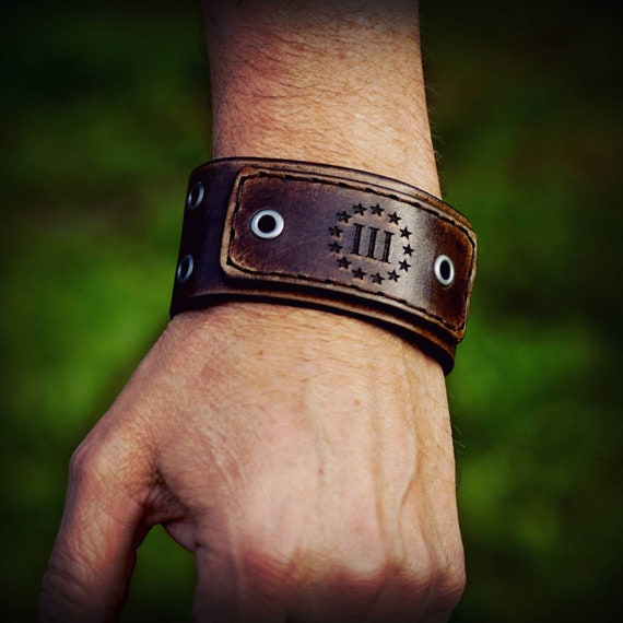 Men's Leather Cuff, Women's Leather Cuff, Three percent Leather Cuff, Leather Cuff Bracelet, Leather Bracelet