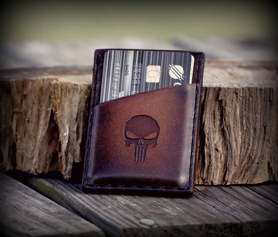 Leather Wallet, Front Pocket Wallet, Custom Engraved Wallet, Minimalist Wallet