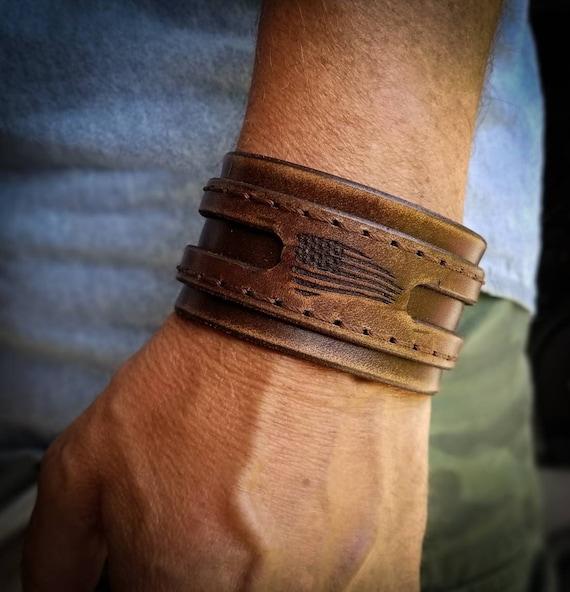 Leather biker cuff, Leather rocker cuff, Men's leather cuff, Women's leather cuff