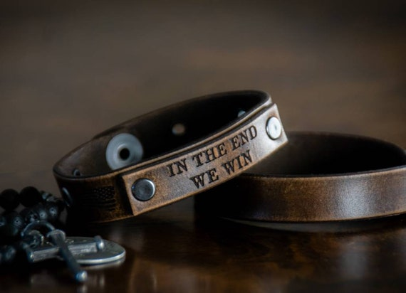 In The End We Win Leather Bracelet