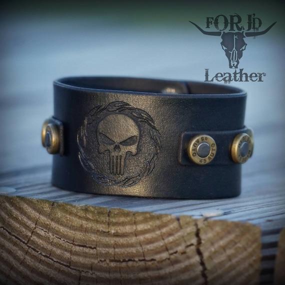 Leather Cuff Bracelet, Leather Bullet Cuff