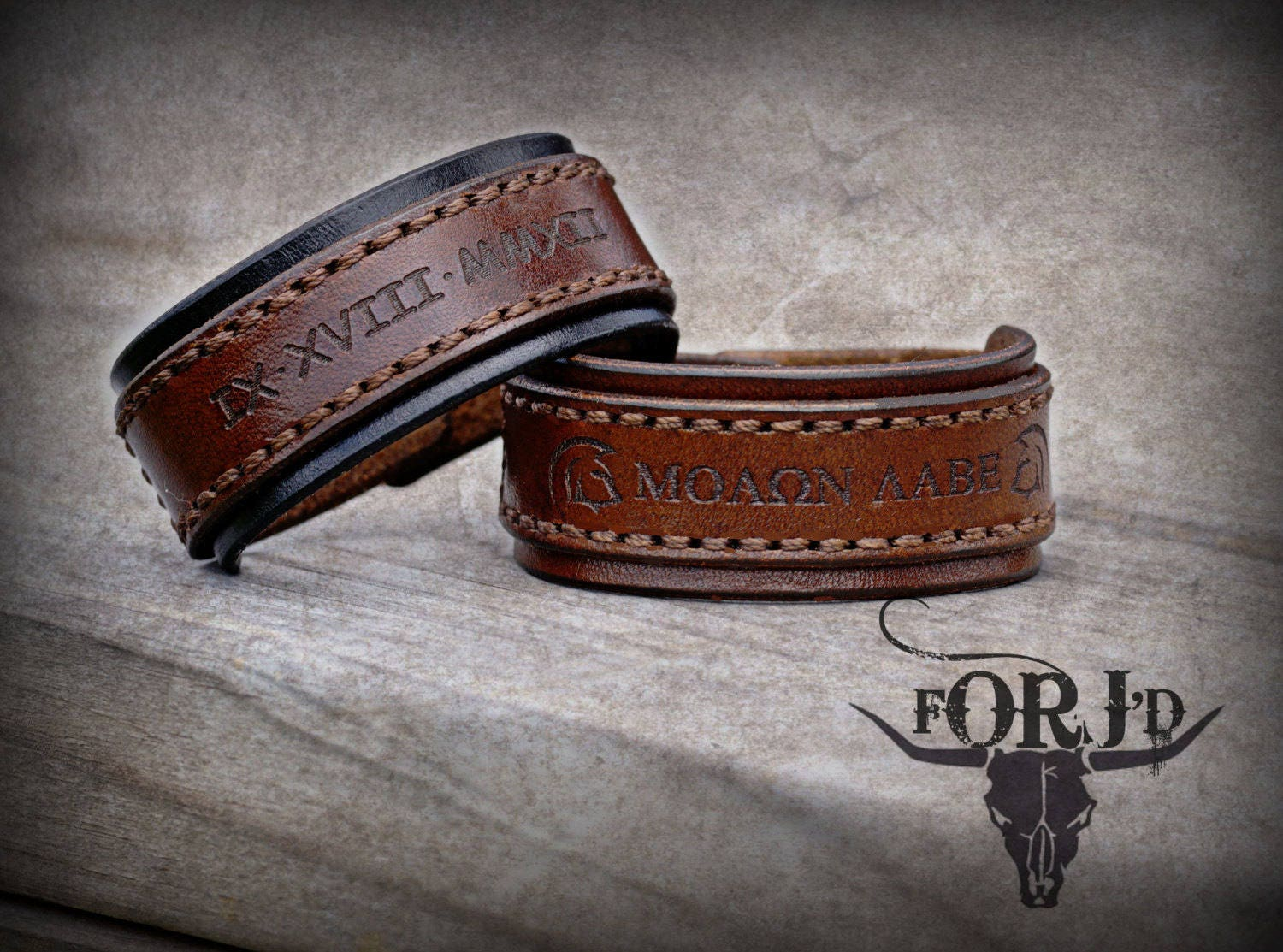 Leather cuff~ personalized leather~ personalized jewelry~ engraved cuff~#Molon Labe~ 3/% ER bracelet~#orjdesign~#Christmas~ men/'s bracelet