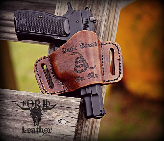 Leather Holster,  Western Style Holster,  Don't Tread On Me, Holster
