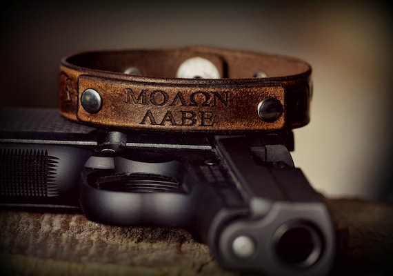 FLASH SALE Molon Labe Leather Strap