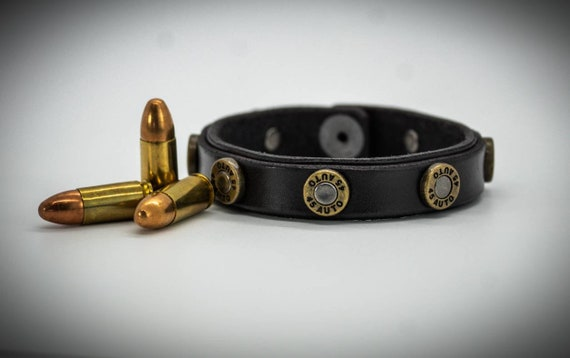 Leather Bullet Bracelet, .45 bullet bracelet, Men's Leather Bracelet, Women's Leather Bracelet