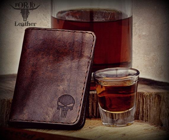 Punisher Wallet, Handmade Wallet, Leather Wallet, Wallet