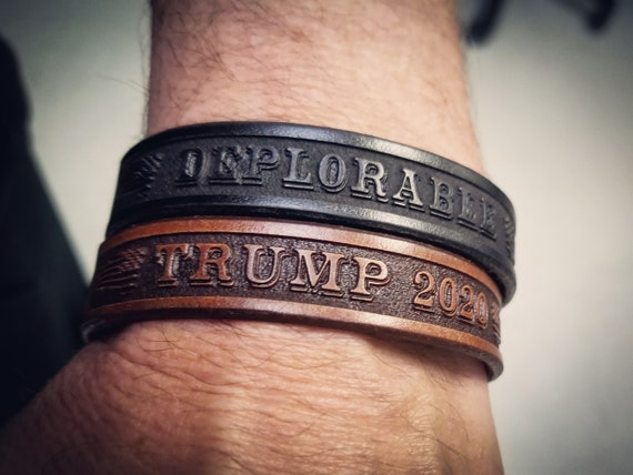Trump 2020 Bracelet, Leather Bracelet, Leather Cuff, Deplorable Bracelet