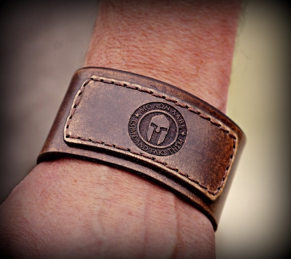 Men's Leather Cuff, Women's Leather Cuff, Molon Labe Leather Cuff, Leather Cuff Bracelet, Leather Bracelet