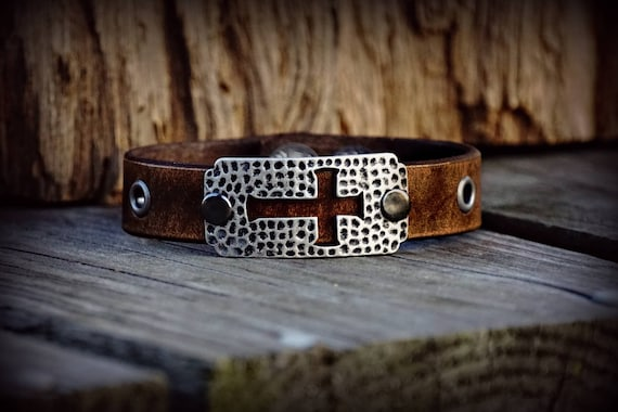 Leather Cross Bracelet, Cross Bracelet,  Women's Bracelet,  Men's Bracelet