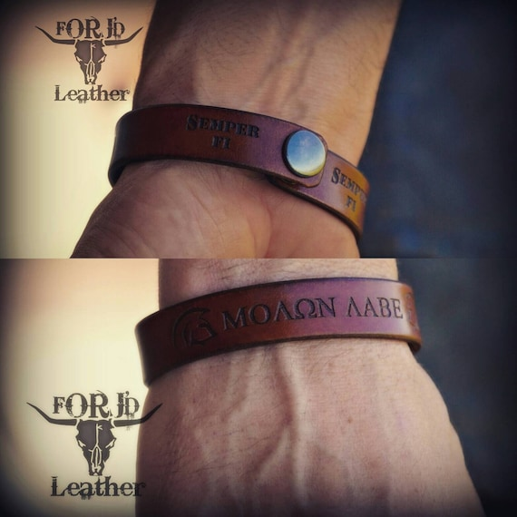 Men's leather bracelet, women's leather bracelet, Molon Labe leather bracelet