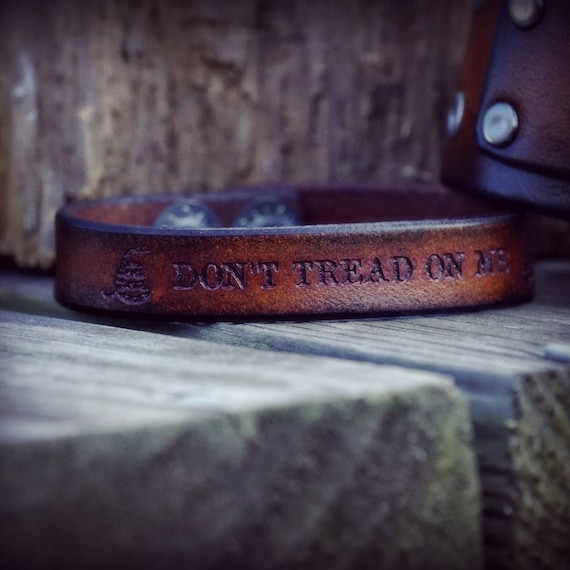 Don't Tread On Me Leather Bracelet, Men's Bracelet, Women's Bracelet,  Leather Bracelet