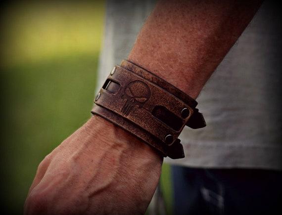 Leather Punisher Cuff,  Adjustable Leather Cuff,  Women's Leather Cuff, Men's Leather Cuff. Women's Bracelet,  Men's Bracelet
