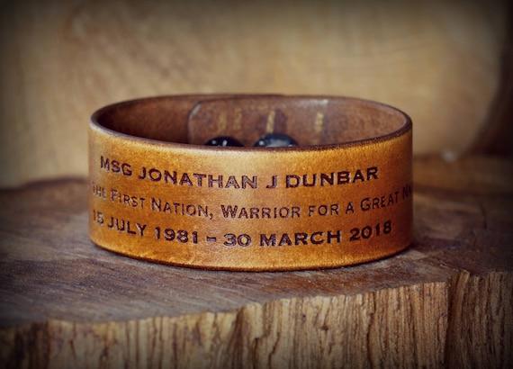 Memorial leather cuff,  Leather Cuff Bracelet.