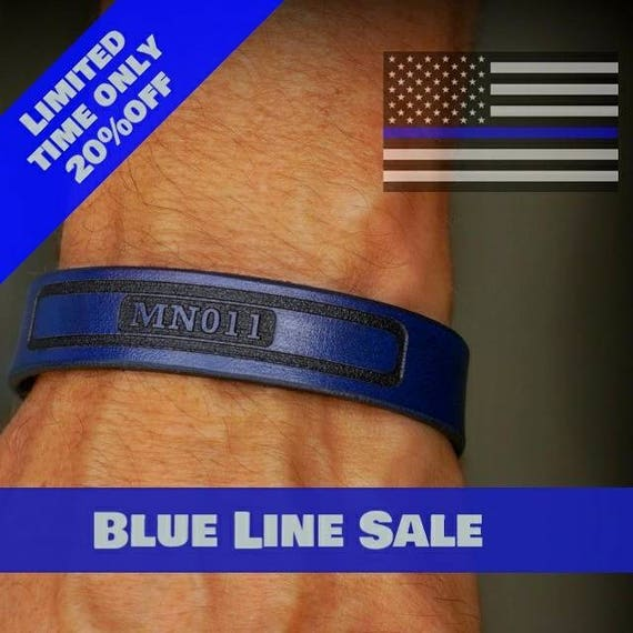 Premium Blue Line Leather Strap