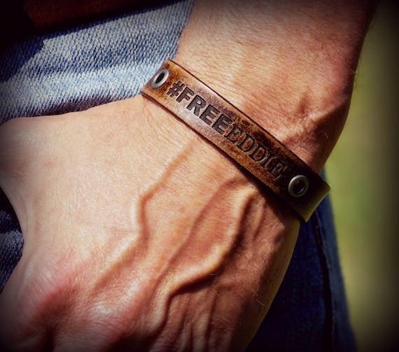 "Ryan Weaver's ""Free Eddie"" Leather Bracelet"