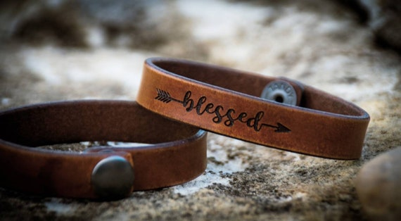 "Leather ""Blessed"" bracelet, Leather Bracelet,  Women's Leather Bracelet,  Men's Leather Bracelet"