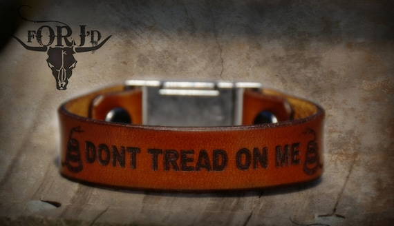 Leather Bracelet, Leather Don't Tread on Me Bracelet, Men's Bracelet