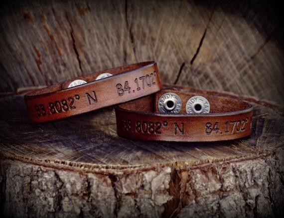 Set of 2 Leather coordinates bracelet set, Coordinates bracelets, His and Her Bracelet