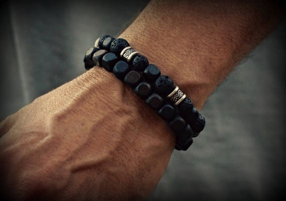 Men, Women's Black Lava Rock Bead Bracelet