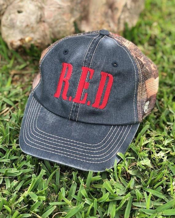 American Flag Remember Everyone Deployed  trucker hat.