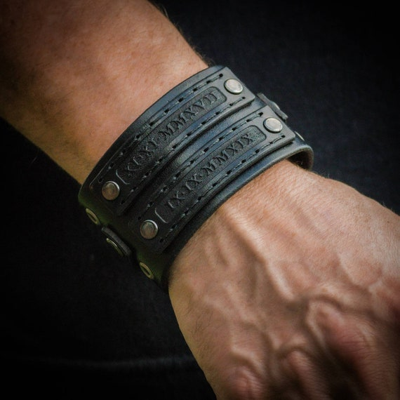 Personalized leather cuff,  Biker cuff,  Men's cuff,  Women's cuff