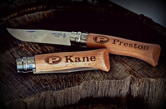 Custom engraved folding knife
