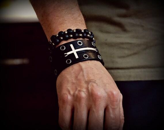 Rocker Leather Cuff, Cross Bracelet, Leather Cuff, Biker Cuff, Men's Cross Leather, Women's Leather Cuff, Men's Bracelet, Women's Bracelet