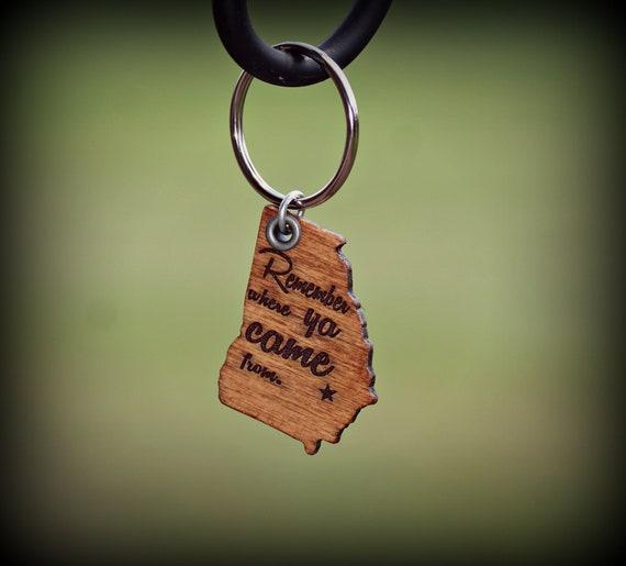 Georgia Key Chain, Wooden Georgia Key Chain, Key Chain, Wooden Key Chain