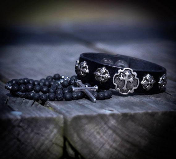 Punk Leather Bracelet, Cross Bracelet, Men's Bracelet, Women's Leather Bracelet, Gothic Bracelet