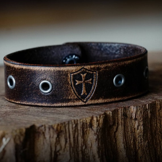 Crusader Leather Strap, Leather Cuff,  Leather Bracelet