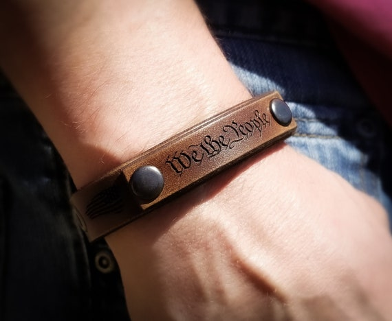 We the People Leather Bracelet, Unique Leather Bracelet, Vintage Leather Bracelet, We The People, 1776