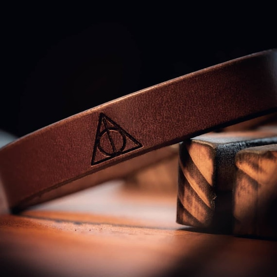 Deathly Hallows Bracelet, Leather Bracelet, Men's Bracelet,  Women's Bracelet