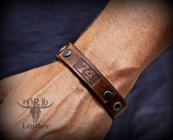 Leather Bracelet, Custom Engraved Leather Bracelet, Leather I.D. Bracelet
