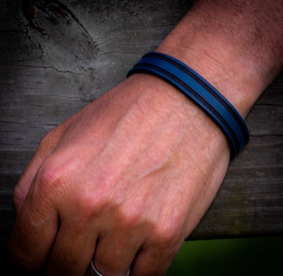 Thin Blue Line Leather Bracelet, Police Bracelet